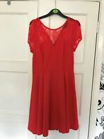 Red Lace New Look Skater Dress, Size 12 excellent condition