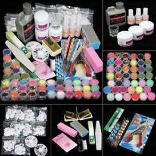 Manicure Set Nail Acrylic Powder Glitter Crystal Rhinestone Kit Brush Art H0Y8