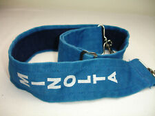 "Vintage CAMERA NECK STRAP,  2"" wide ,  Blue, marked MINOLTA"