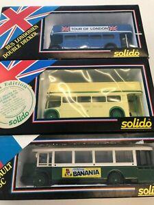 Solido 1/50 Scale Model Buses - X2 London Open Double Decker + Renault TN 6C