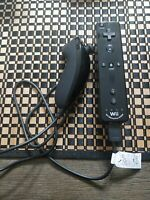 Official Authentic Nintendo Black Wii Motion Plus Remote Controller + Nunchuck