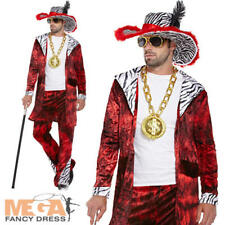 Big Daddy Pimp 70s Mens Fancy Dress Adult 1970s Costume Outfit + Hat