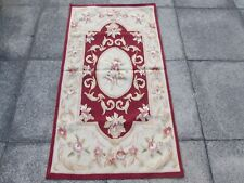 Old Hand Made French Design Wool Maroon Red Original Aubusson 142X77cm