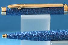 c1992 Elysee En Vogue Laque Blue Leather Ballpoint Pen with Gold Trim