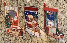 3 Vtg Completed Needlepoint Christmas Stockings Wool Santa Reindeer Velvet Back