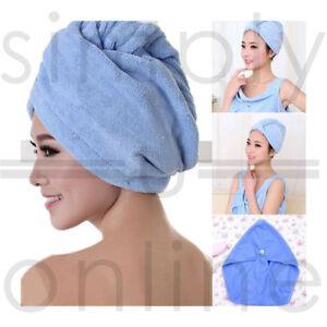 Microfibre Microfiber Hair Drying Wrap Towel Turban Hat Turbie Micro Fibre Blue