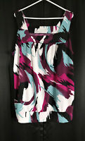 Maurices Size 2 Bright Artistic Black White Wine Magenta Teal Swirled Top