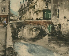 Mid 20th Century Aquatint - Urban Canal Scene