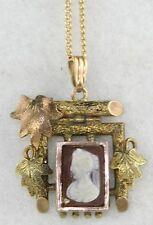 Stone Cameo Necklace Sardonyx Victorian Antique Gold Filled Hard