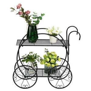 2 Tiers Cart Shape Metal Shelves Flower Plant Stand Display IN/Outdoor Garden