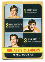 1972-73 Topps Assists Leaders Card #62 Bobby Orr, Phil Esposito, Jean Ratelle