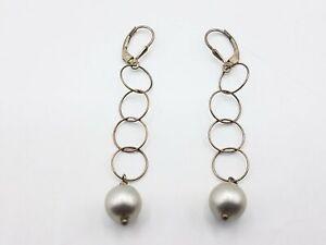 4.29g 950 Pearl Chain Link Drop Earrings MRJ165