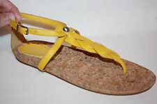 GIANNI BINI YELLOW LEATHER T STRAP ANKLE STRAP SANDALS FLATS WOMENS SZ 8 M