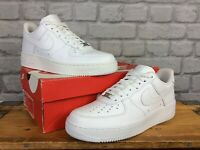 NIKE LADIES UK 8 EU 42.5 AIR FORCE 1 LOW WHITE LEATHER TRAINERS T RRP £85