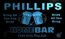 p1045-b Phillips Personalized Home Bar Beer Family Name Neon Light Sign