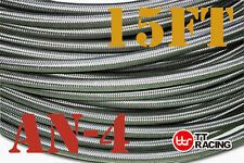 """1/4"""" STAINLESS STEEL BRAIDED 1000 PSI -4AN AN4 4-AN OIL FUEL LINE HOSE 15FT USA"""