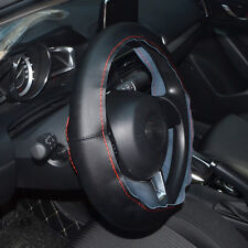 DIY Car Steering Wheel Cover  Leather 14''/15''/16'' w/Needle Thread BLACK/RED