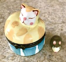 Cat Hinged Trinket Box Porcelain Ceramic w/Mouse - Excellent Pre-Owned Condition