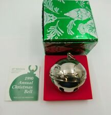 1990 Wallace Silversmiths Annual Christmas Sleigh Bell Ornament Silverplate