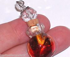 1 Glass Swirl Red Fire Ball Crystal Ball Color oil perfume bottle cork pendant *