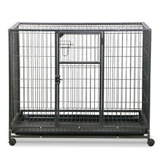 US Heavy Duty Dog Cage Crate Kennel Metal Pet Playpen Portable w/Tray and Wheel