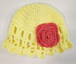 Beanie Knit Hat Flower Flapper Olive Oil Winter Stocking Cap Handmade Yellow