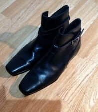 Mens PRADA Black Leather Jodhpur Ankle Boots With Buckle Straps,Size UK 11