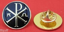 Chi-Rho with Alpha-Omega Lapel Hat Tie Pin Badge Christian Chi Rho Symbol Brooch