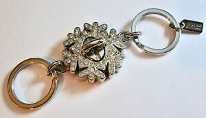 Coach Pave Crystal Snowflake Turnlock 2-in-1 Valet Keychain Key Ring Fob