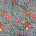 Indian+Gray+Bird+Kantha+Quilt+Cotton+Bedspread+Handmade+Bedding+Blanket+Throw