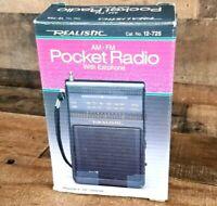 Realistic Pocket Radio Vintage AM FM 12-725 Earbud Included Radio Shack Handheld