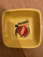 WEETABIX VINTAGE 90S YELLOW SQUARE BOWL 70TH ANNIVERSARY