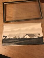 STUNNING Farmhouse Antique Ink Drawing Painting Photo D. Goldberg Bierstadt?