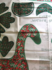 "Soft Sculpture ""Calico Mother Goose"" Craft Panel Approx 18""  Green w/Red Flowers"
