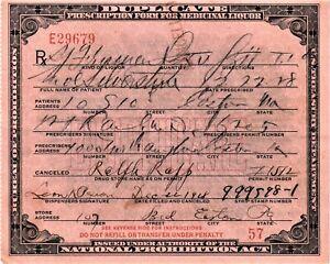 Vintage 1928 Prohibition Whiskey Prescription Doctor Pharmacy Bar Easton PA