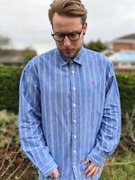 Crew Clothing XL Blue White Stripe Shirt Men's Linen Blend Smart Casual Logo