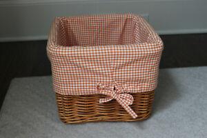 Pottery Barn Kids Orange Coral White Gingham Sabrina Basket Liner Only Large