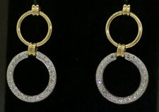 14K 2-tone gold high fashion .50CTW diamond hoop dangle earrings