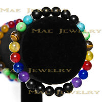 Elegant double 7 Chakra 8mm Round Stone beads s925 Sterling Silver Bracelet.