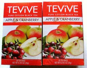 (2) TEViVE APPLE CRANBERRY TEA 20 Bags Each Box Free Ship!