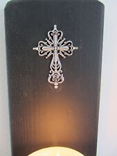 PAIR OF 30CM MATTE BLACK GOTHIC WALL SCONCE CANDLE HOLDERS WITH SILVER CROSS