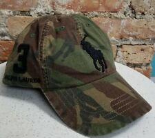 POLO Ralph Lauren Men's Big Pony Camo Cotton Hat Baseball Cap Leather Strap NWT