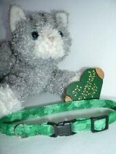 Lucky Shamrock Handmade Fabric Cat Collar - Green w/Dusting of Irish Gold
