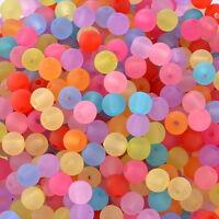 1000 Mix Rund Acryl Mattperlen Kugeln Beads Basteln 6mm