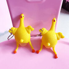 Rubber Squeeze Chicken Laying Egg Hen Keychain Stress Relief Anti-Depressing