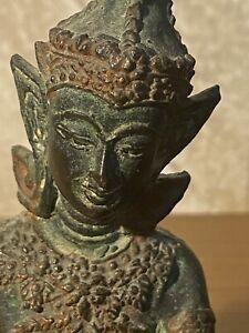 ANTIQUE THAI HINDU  GILT BRONZE BUDDHA STATUE NAMASAKRA MUDRA PLAYING DRAM