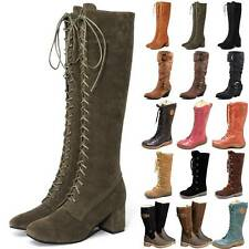 Women Knee High Boots Winter Long Stretch Lace Up Wide Calf Low Block Shoes Size