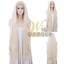 "Long Straight 39"" Yaki Platinum Blonde Lace Front Wig Heat Resistant"