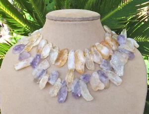 Amethyst Citrine Necklace Raw Stone Purple Peach Chunky 2 St Statement Jewelry