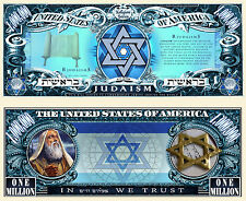 Judaism Million Dollar Bill Collectible Fake Play Funny Money Novelty Note